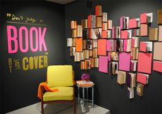"""""""Don't judge a book by its cover"""" Selfridges & Co Department Store  display in the UK.  Nicely done! They transformed their basement floor into a library/bookstore for a period through Mar 1, 2012."""