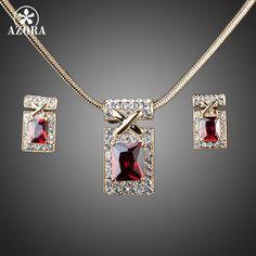 Azora diseño único de color oro con rojo oscuro cubic zirconia pendientes y collar de la joyería sets tg0027