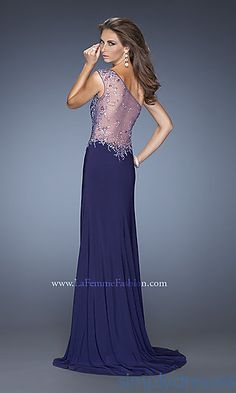 Long One Shoulder Gown with a Sheer Back at SimplyDresses.com