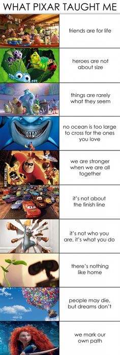 Funny pictures about What Pixar Taught Me. Oh, and cool pics about What Pixar Taught Me. Also, What Pixar Taught Me photos. Disney Amor, Walt Disney, Disney Magic, Disney Facts, Disney Memes, Funny Disney, Disney Sayings, Pixar Facts, Sad Disney Quotes