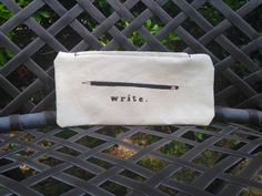Pencil cases for writers and word lovers: Write inspirational pencil case | shiratshira on Etsy