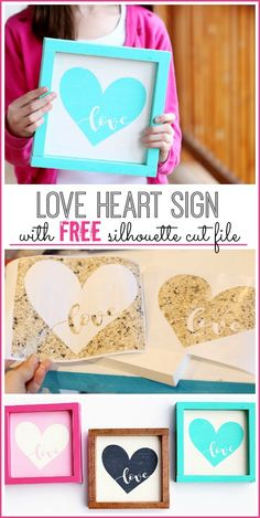 make your own Heart Love Wood Sign - FREE cut file - Sugar Bee Crafts #cutfile #valentinesdaycrafts