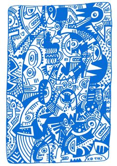 Dreaming in Blue Tribal inspired art Tiki Art, Monster S, Urban Art, Insta Art, Modern Art, Pop Art, Graffiti, Doodles, Blue And White