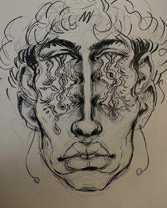 Cool Art Drawings, Art Drawings Sketches, Kunst Tattoos, Arte Obscura, Arte Sketchbook, Funky Art, Hippie Art, Dope Art, Weird Art