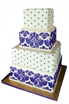 Purple Damask and Teal Beading four tier wedding cake