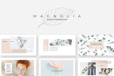 Magnolia PowerPoint Presentation by Studio Sumac on Creative Market, Design Presentation, Business Presentation Templates, Professional Powerpoint Templates, Creative Powerpoint Templates, Powerpoint Themes, Powerpoint Free, Brand Guidelines Template, Magnolia Design, Creative Brochure