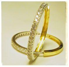 -#585 Gold - Creolen mit Zirkonia - Gewicht 9,70 Gr. - Außendurchmesser ca. 34,29 mm
