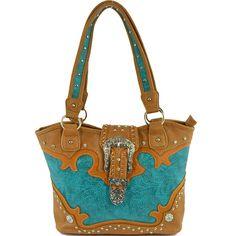 Embossed Western Buckle Rhinestone Concealed Handbag – Handbag-Addict.com
