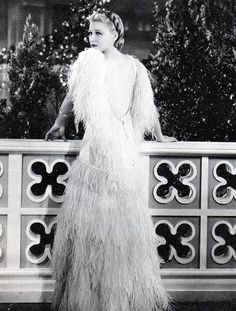 Ginger Rogers in the ostrich-feather gown from *Top Hat*. There's also a satin wrap that goes with this gown, but you see it in only one scene.