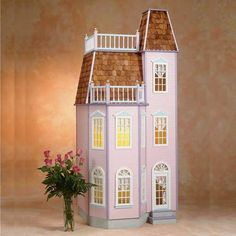 Playscale (approximately scale) is perfect for 11 inch fashion dolls. Playscale Victorian Dollhouse Kit available at Real Good Toys Cardboard Dollhouse, Dollhouse Kits, Dollhouse Miniatures, Barbie Furniture, Dollhouse Furniture, Real Good Toys, Growing Up Girl, Victorian Townhouse, Porch Posts