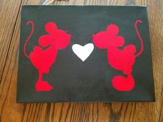 Mickey Loves Minnie - 9x12 mounted canvas. $20