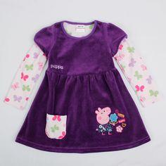 Peppa pig - with style Fall Dresses, Girls Dresses, Summer Dresses, Peppa Pig Dress, Pig Girl, Baby Winter, Velvet Tops, Baby Dress, Corduroy
