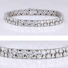 5.60 CTW Round  14K Bracelet. One of our popular cubic zirconia bracelet features 0.10 carat (each) round prong set stones alternating with small triangle in 14k white gold. An approximate 5.60 total carat weight. This high quality cubic zirconia bracelet is 7 inches long, also available in different lengths via special order. Cubic zirconia weights refer to equivalent diamond carat size.