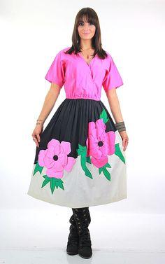 70s Mexican floral applique full skirt dress Jesus A Diaz