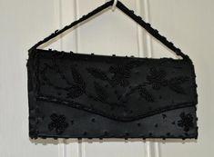 3d93b32b5710 VINTAGE 50S 60S BEADED EVENING BAG BLACK SATIN CLUTCH HANDBAG HAND MADE  HONGKONG   eBay #50seveningbags #vintageeveningbagsebay #eveningbagsebay