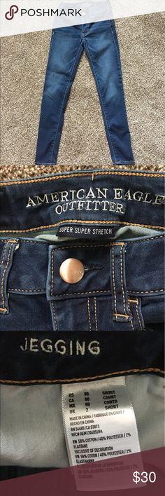 American Eagle Super Super Stretch Jegging Selling this super super stretch Jegging from American Eagle. Size 00 short. Dark blue faded color! Brand new condition. Willing to negotiate price! American Eagle Outfitters Jeans Skinny