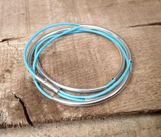 Baby Blue Trendy Leather Bracelet with Silver Plated Tube Beads by GildedBug, $14.99 USD