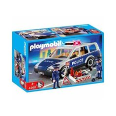 2 figurer og Playmobil politibil / patruljevogn med udstyr til at spærre veje, slukke brande, føre fartkontrol og fange forbrydere.