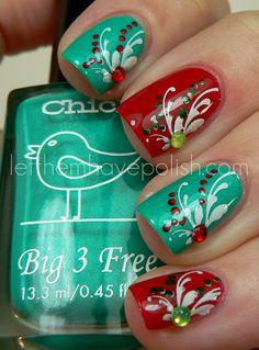 Let them have polish. Red & green polish. Nail art. Christmas / holiday. Flourish.