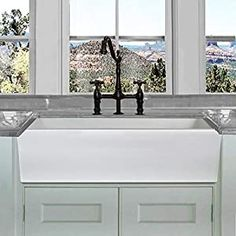 Highpoint Collection White Single Bowl Rectangle Fireclay Farmhouse Kitchen Sink in White (As Is Item) Inch White Italian Fireclay Kitchen Fireclay Farmhouse Sink, Farmhouse Sink Kitchen, Modern Farmhouse Kitchens, New Kitchen, 36 Inch Farmhouse Sink, Farmhouse Decor, White Farmhouse, Awesome Kitchen, Rustic Kitchen
