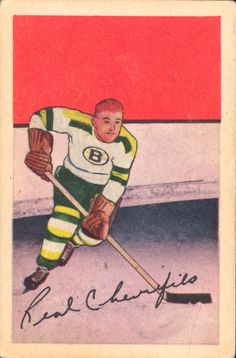 Real Chevrefils, Boston Bruins - 1952-53 Parkhurst rookie hockey card.