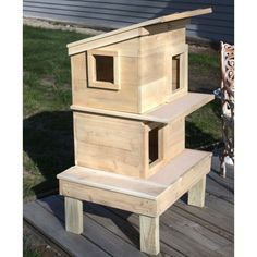 Double Deck Outdoor Cedar Wood Cat House Shelter More More