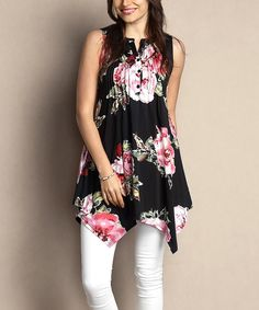 Look at this #zulilyfind! Black Floral Notch Neck Pin Tuck Handkerchief Tunic - Plus by Reborn Collection #zulilyfinds