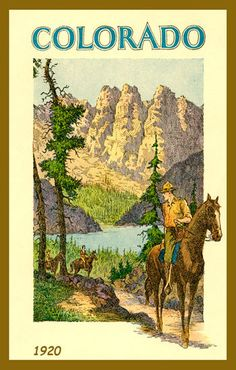Colorado 1920. Quilt Block printed on cotton. Ready to sew.  Single 4x6 block $4.95. Set of 4 - 4x6 quilt blocks with wall hanging pattern $17.95.