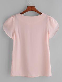 Pink Pleated Cap Sleeve Chiffon Blouse