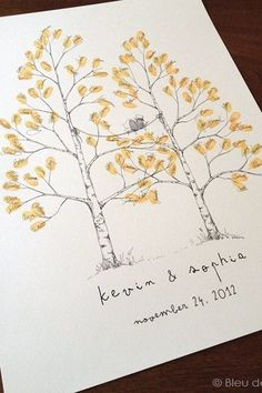 Life Hacks : Illustration Description Wedding guest fingerprint tree. 9 Wedding Guestbook Alternatives That You'll Actually Want to Keep #purewow #planning #pinterest #wedding #guestbookideas -Read More – - #LifeHacks