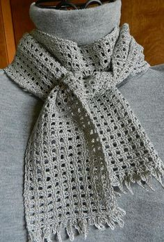 Gray and Silver Crocheted Scarf by Cozy, $18.00 USD
