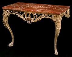 An Early George III Giltwood Console Table with Red Sicilian Jasper Top