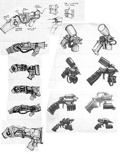 Sonic Disruptor & Explosive Gel Sketches from Batman: Arkham Origins