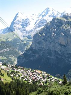 And I traveled up that mountain in a cable car. The mountain of Murren Switzerland! Places To Travel, Places To See, Travel Destinations, Murren Switzerland, Four Corners Monument, Travel Log, Bavaria, Alps, Holiday Ideas