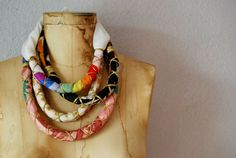 colorful TRIBAL rope necklace by vintagemarmalade on Etsy, $24.00 Love this idea too!  Great use for leftover fabrics.  Could be silks, nice cottons, or...
