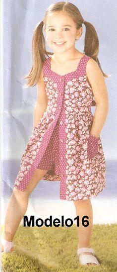Hand Made by Juliana Melo: Ref: 127 - Children's dress template<br> Frocks For Girls, Kids Frocks, Dresses Kids Girl, Cute Dresses, Girl Outfits, Baby Dresses, Frock Patterns, Girl Dress Patterns, Dress Anak