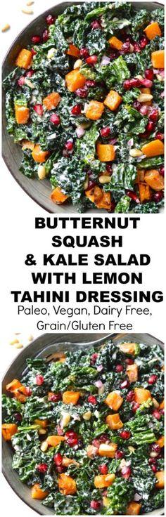 Kale, Butternut Squash and Pomegranate Salad with Lemon Tahini Dressing