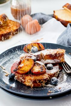 Dairy-Free Coconut Caramel Brioche French Toast with Grilled Peaches- The Brick…
