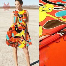 Дизайнер прекрасный клоун печать 100% шелковый креп-крепдешин ткань для шитья чистой шелковой ткани для платья 14 мм бесплатная доставка SP2908(China (Mainland))