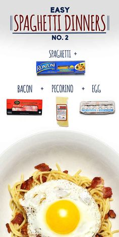 Spaghetti with Bacon, Pecorino, and Fried Egg