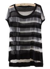 Black Short Sleeve Striped Sheer Loose T-Shirt
