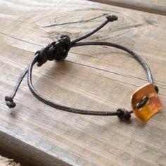 Copper Button Leather Bracelet Adjustable Slide by Prittyfy