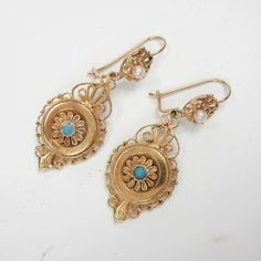 Antique 14k Gold  Drop Earrings with Turquoise and Pearls