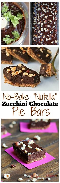 8 Ingredient No-Bake Nutella Zucchini Cream Pie Bars! Vegan, gluten-free and oil-free! ALL recipes 8 ingredients or less.