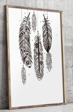 Bohemian wall art feather wall art bohemian by TwoBrushesDesigns #feathers More