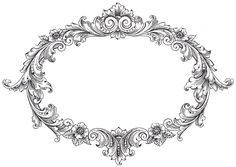 Vintage Clip Art - Fancy Oval Frame - The Graphics Fairy