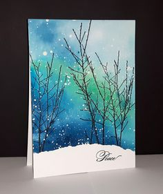 Into the sky de Penny Black par Micheline 'Mimi' JourdainYou can find Penny black and more on our website.Into the sky de Penny Black par Micheline 'Mimi' J. Watercolor Christmas Cards, Diy Christmas Cards, Watercolor Cards, Watercolor Background, Xmas Cards, Christmas Art, Watercolor Paintings, Watercolors, Watercolor Trees