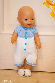 Ravelry: vasilka-knit's Marianna's All-in-One Romper Suit for A Knitting Dolls Clothes, Crochet Doll Clothes, Doll Clothes Patterns, Knitted Doll Patterns, Knitted Dolls, Baby Knitting Patterns, Baby Born Kleidung, Baby Born Clothes, Crochet Baby Poncho