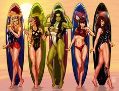 Marvel Dc, Marvel Comics Art, Marvel Women, Marvel Girls, Comics Girls, Captain Marvel, Comic Book Artists, Comic Book Characters, Marvel Characters
