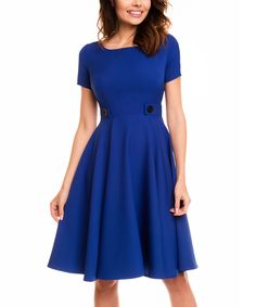 Look at this Awama Blue Tab-Waist Fit & Flare Dress on #zulily today!